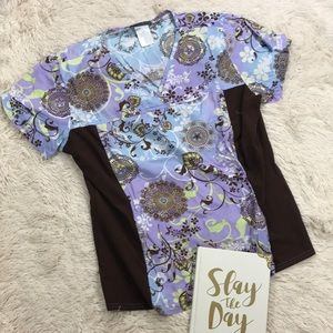 Cherokee Brown Purple and Yellow Floral Scrub Top